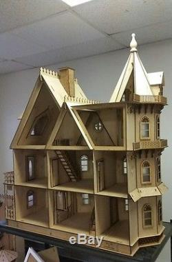 112 Scale Leon Gothic Victorian Mansion Dollhouse Kit 0000358