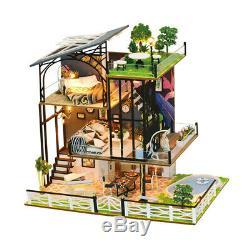 124 DIY Miniature Dollhouse Villa Kits Creative LED House Model Birthday Gifts