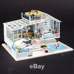 124 Dollhouse Miniature DIY Mini House Kit with Led Lights -Cretan Holiday