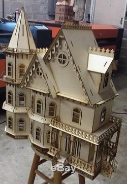 124 Scale Leon Gothic Victorian Mansion Dollhouse Kit 0000373