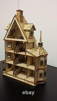148, 1/4 Scale Ashley Gothic Victorian Miniature Laser Dollhouse Kit 0000394
