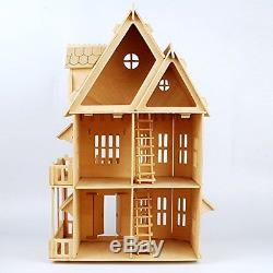17 Wooden Dream Dollhouse 6 Rooms Diy Kits Miniature Doll House Great For Gift