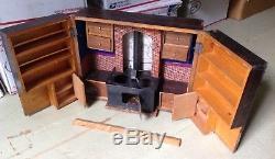 Antique Victorian Dollhouse Kit Handmade Wooden Kitchen Set Hinged