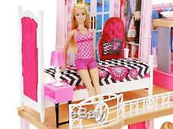 Barbie Home Set With Dolls Pool Girls Kids House Furniture Play Kit Pink New