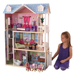 Barbie Size Wooden Dollhouse 3 Level with Furniture Accessories Girl Play NEW