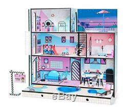 Casa de Muñecas de Madera de 3 Niveles 3x3ft con Diseño de L. O. L. Incluye 85 Pcz