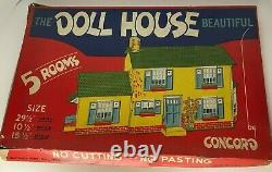 Concord The Dollhouse Beautiful 5 Rooms Toy Cardboard Kit Vintage 133 Complete