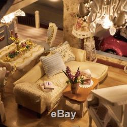 DIY Dollhouse Furniture Wooden Model Kits House With LED Light Xmas Child Gift