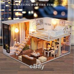 DIY Dollhouse Toy Wooden Miniature Furniture Kit LED Light Gift Waiting Time Kid