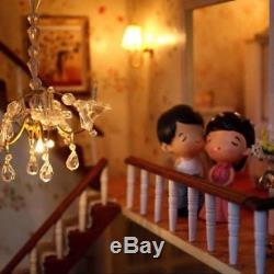 DIY Handcraft Miniature Project Kit Wooden Dolls House LED Lights Music Vil H6S6