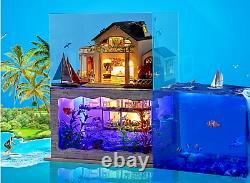 DIY Hawaii Villa Doll House Wooden Miniature Furniture Kit Gift 3D Art Craft New