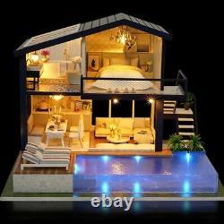 DIY Miniature Furniture Doll House Small Handcraft Wooden Led Project Villa Kit