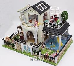 DIY Miniature Garden Wooden Dollhouse Pool Villa Furniture Kit LED Birthday Gift