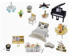 DIY Miniature Pool Doll House Wooden Furniture Led Villa Dollhouse Project Kit