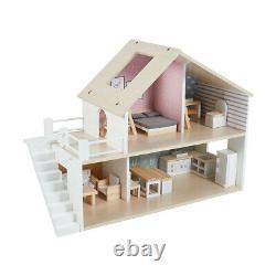DIY Wooden Dollhouse Miniature Home Furniture Kit Doll House Xmas Gift Kids Toys