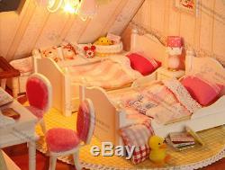 DIY Wooden Dollhouse Miniatures Handcraft Kit LED Light & Music Box-Large Villa