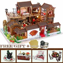 Doll House Miniature DIY Kit Dolls Toy House With Furniture Music Box + Dust Cover