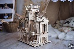 Doll House Villa Dollhouse Kit, Miniature Victorian Dolls House + Furniture