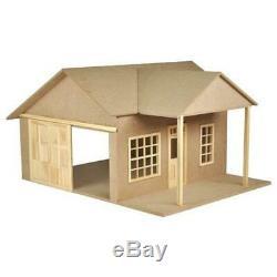 Dolls House Garage Kit Retro Gas Station Unfinished Flat Pack 112 Scale MDF