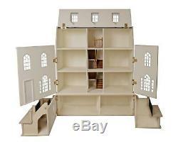 Georgian Dolls House & Basement 112 Scale Unpainted Flat Pack MDF Wood Kit