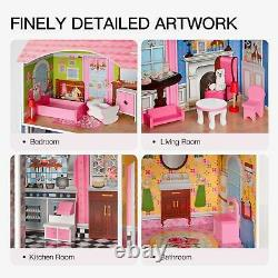 Girls Dream Wooden Pretend Play House Kids Doll Dollhouse Mansion with Furnitures