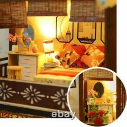 HEYANG 3D Wooden Assembled Dollhouse Kit DIY Miniature Japanese Style Courtyard