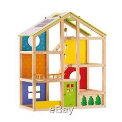 Hape All-Season Furnished House Kids Wooden Dollhouse with Furniture (Open Box)