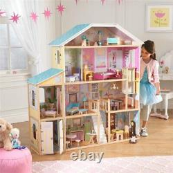 KidKraft 34 Piece Majestic Mansion Dollhouse in Pink and Natural