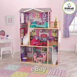 KidKraft Elegant Wooden Doll Manor with 12 Pieces of Furniture for 18 Dolls