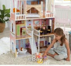 KidKraft Sweet Savannah Wooden Play House Doll Dollhouse with Furniture