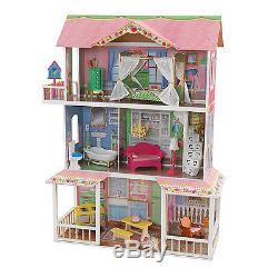 KidKraft Sweet Savannah Wooden Pretend Play House Doll Dollhouse with Furniture
