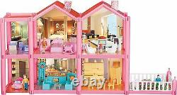 Kidcraft Easy Assembly Dolls House Princess' Pink Little Villa With Furniture