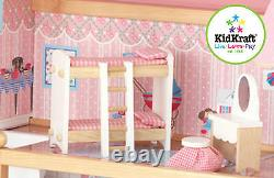 Kidkraft Chelsea Doll Cottage, Wooden Dollhouse for small dolls figures