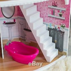 Kidkraft Pink Dollhouse With Furniture Space Saving Corner Play House Mansion New