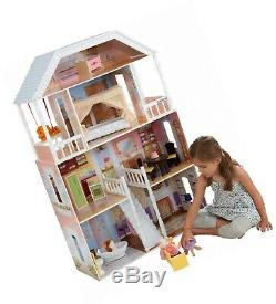 Kidkraft Savannah Wooden Doll House Barbie Size Girls Playhouse With Furniture