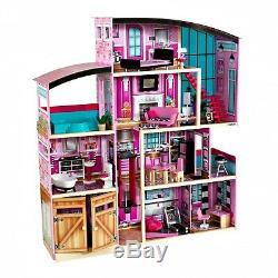 Kids Big Wooden Dollhouse Shimmer Mansion for 12 Inch Dolls
