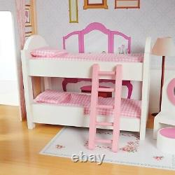 Kids wooden dolls house 115cm tall 3 story play house with lift and furniture