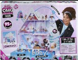 LOL Surprise! O. M. G. Winter Chill Cabin Wooden Doll House with 95+ Surprises