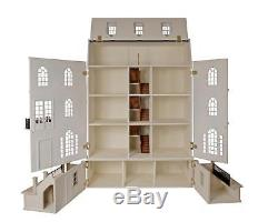 Large Luxury Georgian Dolls House & Basement Flat Pack Unpainted Kit 112 Scale