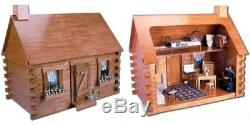 Log Cabin Doll House Miniature Kit Kids Wooden Flower Box Loft Unfurnished New