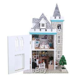 MagiDeal 124 DIY Assembly Miniature Dollhouse Kit Moonlight Castle Themed