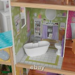 Mansion Dollhouse With Furniture Girls Xmas Gift Doll Play Big Wooden House