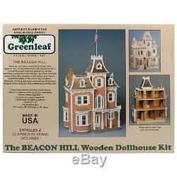 NEW The Beacon Hill Wood Dollhouse Kit Victorian Heirloom 7 Rooms 2 Hallways