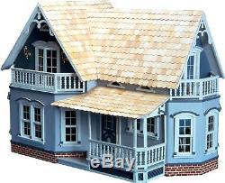 New! Classic Wood Gingerbread 4 Room Floors Porch Girls Dollhouse Wood Kit -new