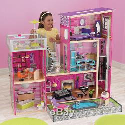 New KidKraft Modern Uptown Wood Barbie Dollhouse 35 Pieces Furniture Playset