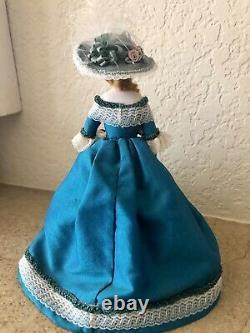 OOAK Vintage Artisan Miniature Dollhouse Doll BEAUTY Silk Victorian Dress & Hat