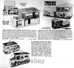 RARE! 1960'S Strombecker Modern Dollhouse Masonite Fully Furnished Mint in Box