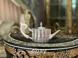 RARE Mini Dollhouse Obadiah Fisher Coveted Sterling Silver Tea Pot Bone Handle