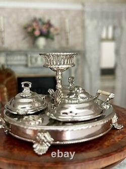RARE Miniature Dollhouse Artisan Sterling Eugene Kupjack English Breakfast Set