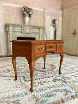 RARE Vintage Miniature Dollhouse John Hodgson UK IGMA Artisan Desk 1984 Burlwood